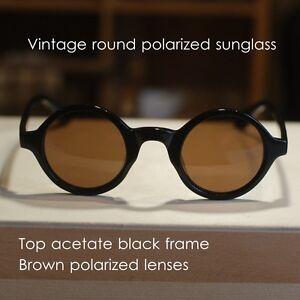 Round Retro Vintage Johnny Depp polarized sunglasses mens black frame brown lens