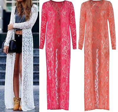 New Women/'s Ladies Long Sleeve Maxi Boyfriend Cardigan Open Floaty Summer Kaftan
