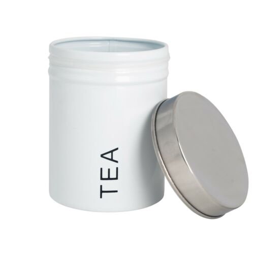 Tea Storage Canister Kitchen Jar Caddy Canisters Jars Pots Metal White