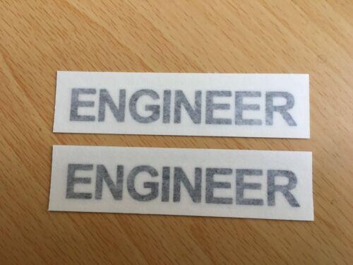 Ingénieur chapeau dur casque Vinyle Stickers Autocollants x2 @ 77 mm x 11 mm noir ou blanc