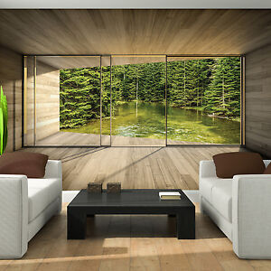 vlies fototapeten tapete tunnel terrasse natur wald see wasser 3d 14n3293vexxl ebay. Black Bedroom Furniture Sets. Home Design Ideas