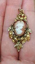 pendentif camée ancienne médaille en plaqué or gold plate Pendant bijoux ancien