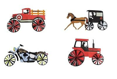 New 43 Motorcycle Tractor Truck Or Horse And Buggy Wind Spinner Yard Decor Ebay