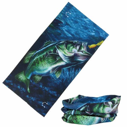 UV SUN PROTECTION FACE MASK,GATOR NECK SCARF,Fishing,Boating,Headwear,Lg Bass 1