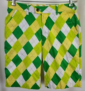 Loudmouth-Golf-Men-039-s-Shorts-Green-Yellow-Argyle-Plaid-Check-sz-32