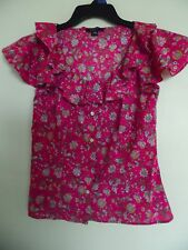 WOMEN'S RALPH LAUREN CHAPS HOT PINK  FLORAL RUFFLE SHORT SLEEVE TOP  SHIRT  SZ 4
