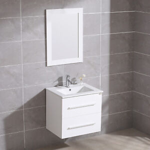 Details About 24 Wall Mount Bathroom Vanity Floating Sink Cabinet Mirror Faucet Single