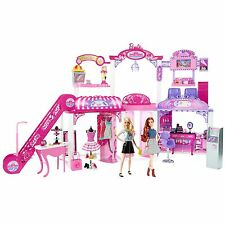 Barbie Malibu Ave 2-Story Mall with 2 Dolls - (50+ Pieces, 2' Tall, 4' Wide)