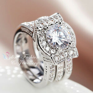 18K White Gold Plated Simulated Diamond Round Cut Stylish Engagement ... 17475dd21bda