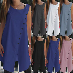 Women-Summer-Asymmetric-Sleeveless-Tunic-Shirt-Casual-Tank-Top-Blouse-Cami-Plus