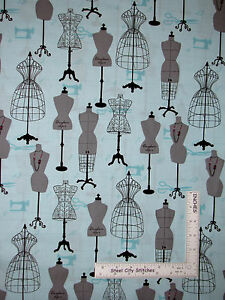 Dress-Form-Sew-Room-Aqua-Cotton-Fabric-Sewing-Studio-Robert-Kaufman-By-The-Yard