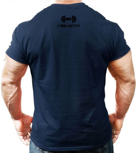 Navy Blue NEW Men/'s Monsta Clothing 100/% Dumbell Bodybuilding Gym Tee
