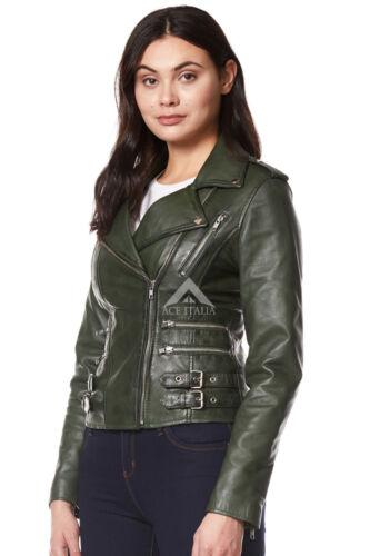 Mystique 7113 Ladies Real Jacket Leather Green Biker Style Dark Motorcycle rrpqUfwOx
