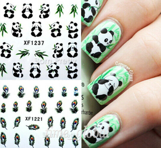 Cute Panda Vivid Feather Pattern Design Nail Art Water Decals Transfers Stickers