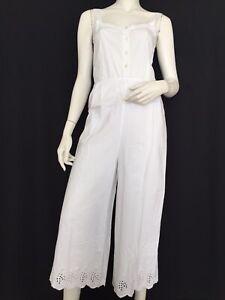 Ovs White Cotton Broderie Anglais Jumpsuit Size 8 Seien Sie Im Design Neu