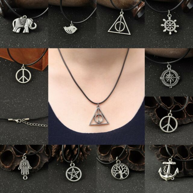 Vintage Antique Silver Charms Anchor Birds Pendant Leather Choker Necklace Gift