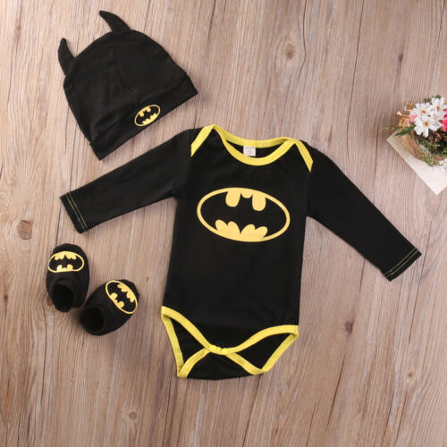 Hut Schuhe Outfit 3tlg Neugeborenes Baby Jungen Superheld Bodysuit Strampler