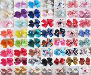 3-5-Handmade-Girls-Hair-Bows-Bowknot-Alligator-Clips-Barrettes-Accessories