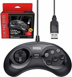Retro-Bit-Official-Sega-Genesis-USB-Controller-6-Button-Arcade-Pad-for-Sega