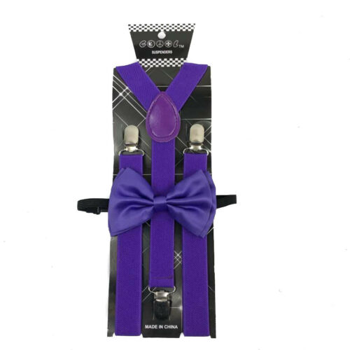 Purple Bow Tie /& Suspender Men Accessories Wedding Formal Wear Prom
