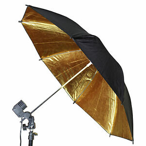 "NEW! 110cm / 43"" Black/Gold Reflective Photograph Studio Flash Lighting Umbrella"