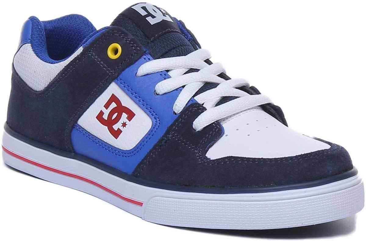 DC scarpe Pure Gioventù Lacci Blu Blu Blu Scuro Rosso In Pelle scarpe da ginnastica 963992