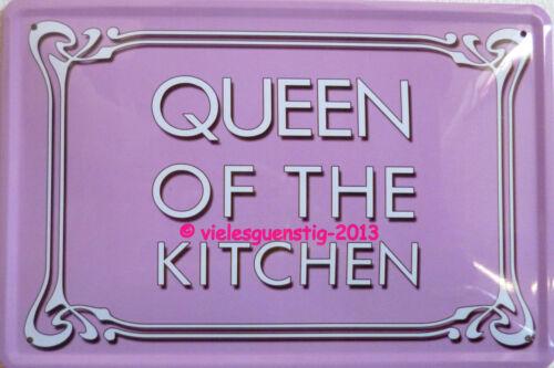 Blechschild Schild 20x30cm Queen of the kitchen Küche kochen Frau Spruch
