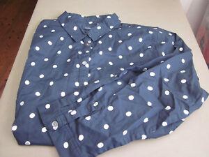 New Womens Lands End Long Sleeve Ruffle Collar Blue Striped Dress Shirt KU18