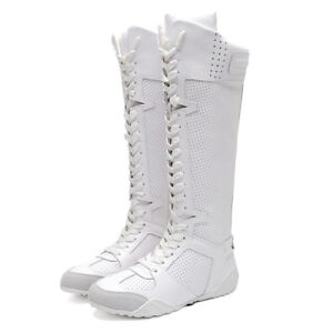 Women s Leather Mid Calf Boots Sneakers White Lace Up Casual ... e3f5c4c23