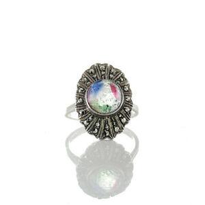 Antiker-ovaler-Art-deco-Ring-Silber-935-mit-Rheinkiesel-und-Markasiten-besetzt