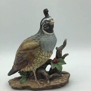 Vintage-Homco-Masterpiece-Porcelain-Quail-Bird-Figurine-Handpainted-In-Mexico
