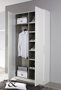 garderobenschrank 2 trg schuhschrank flurschrank dielenschrank weiss hochglanz 4053714226781 ebay. Black Bedroom Furniture Sets. Home Design Ideas