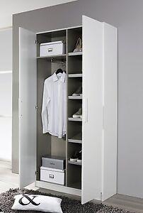 garderobenschrank 2 trg schuhschrank flurschrank dielenschrank weiss hochglanz ebay. Black Bedroom Furniture Sets. Home Design Ideas
