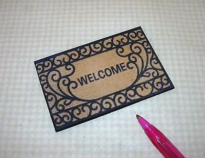 "DOLLHOUSE Miniatures 1:12 Miniature Elegant Black and Tan /""WELCOME/"" Door Mat #1"