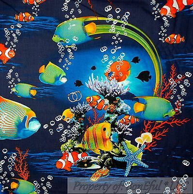 BonEful Fabric FQ Cotton Quilt Blue Aqua Rainbow Water Tropical Clown Fish Beach