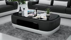 Pelle Tavolino da Salotto Moderno Tavolo di Vetro Design Soggiorno ...