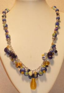 Bright-Blue-and-Yellow-Glass-Crystal-amp-MOP-Necklace