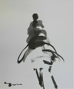 JOSE-TRUJILLO-Black-INK-WASH-on-Paper-Collectible-14x17-Abstract-Figure-Original
