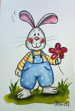 H.Schmidt Hase*Alles Liebe!*ostern bunny pc latzhose blume jeans mini-Aquarell