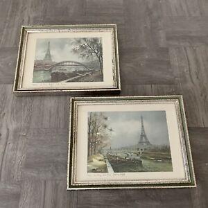Lot-of-2-Vintage-Eiffel-Tower-Paris-France-framed-Signed-Art-Print-Estate-Find