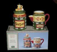Debbie Mumm Morning Coffee 3-pc Handpainted Creamer Sugar Set Disc