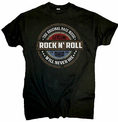 Rock N Roll T-Shirt Cleveland Biker Chopper Bobber US Car Hot Rod Old School