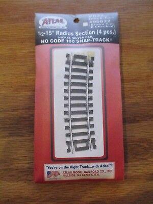 "Atlas #832  1//2-15/"" Radius Section Curve Track HO Scale Code 100 w Free ship!"