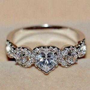 14k-White-Gold-Finish-1-50Ct-Heart-amp-Round-Cut-Diamond-Engagement-Wedding-Ring