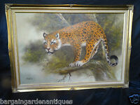 Large Oil On Canvas Leopard Country Landscape Painting Signed By French Artist