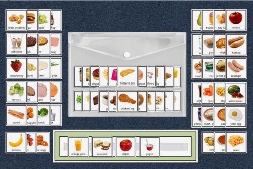 cartes 70 Nourriture//Repas Planner-Autisme//Discours /& Language//PECS//Sen