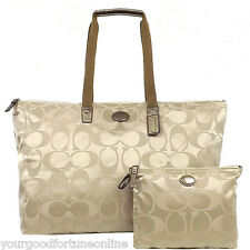 NWT Coach XL Khaki Tote Overnight Nylon Packable Weekend F 77316 Duffel Travel