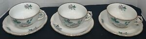 Royal Bayreuth Set of 3 Tea Cups and Saucers Bavaria Germany US Zone