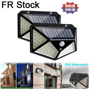 100-LED-lampe-solaire-PIR-mouvement-actionne-lampe-de-securite-exterieure-jardin