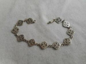 """PSCL Peter Stone 925 sterling pierced Celtic knot 7.5""""  link bracelet"""